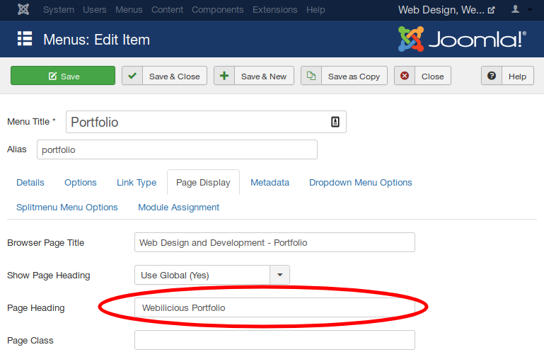 H1 Heading settings for Joomla SEO