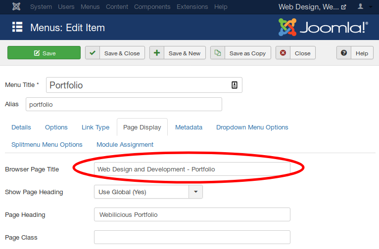 Page Title Settings for Joomla SEO