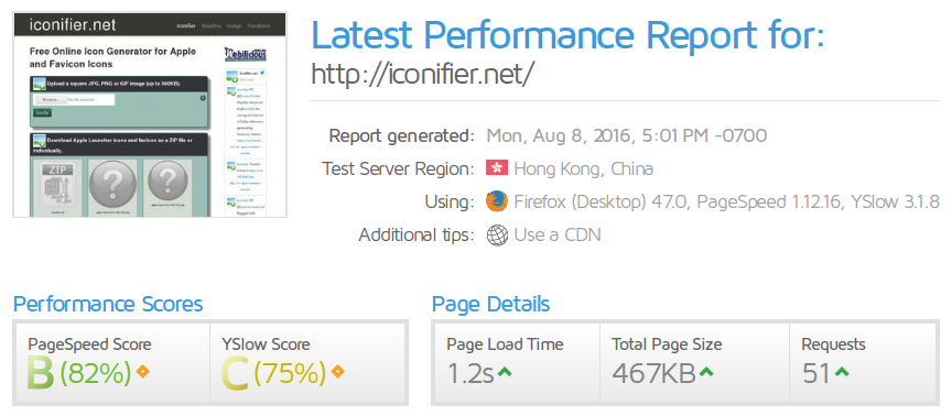 iconifier.net Website Performance